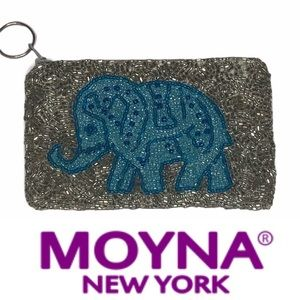 Moyna Elephant Beaded Coin Purse silver/blue